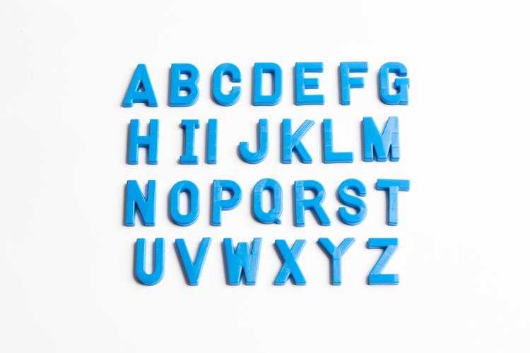 Abecedarian Alphabet Letters Blue Plastic Upper Case Teaching Tool New